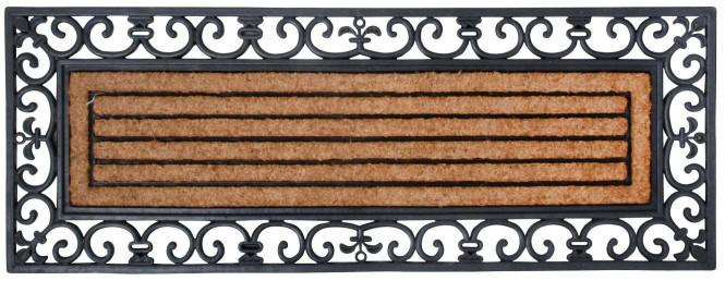 Esschert Design Fußmatte aus Gummi/Kokos-Einlage, rechteckig, 120 x 45 cm in schwarz