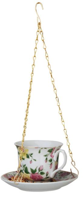 Esschert Design Futtertasse, Tasse und Untertasse für Vogelfutter, hängend, Lieferumfang: 1 Stück, sortierte Motive