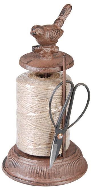 2 Stück Esschert Design Garnspender, Schnurrhalter mit Schere, ca. 12 cm x 12 cm x 23 cm Anzahl: 2 Stück