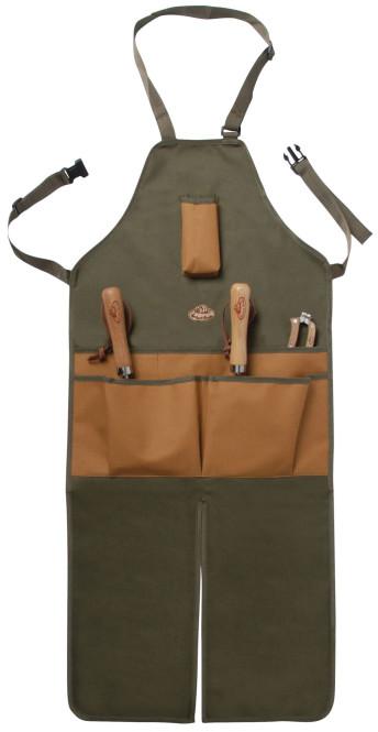 Esschert Design Garten-Arbeitsschürze mit Taschen, lang, in grün-braun, 46 x 1 x 120 cm