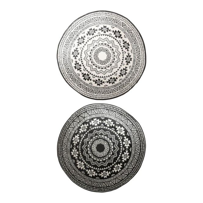 Esschert Design Gartenteppich Klassik schwarz-weiß Ø 180 cm , wasserresistente Schuhmatte Klassik - schwarz-weiß