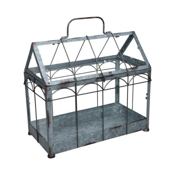 Esschert Design Gewächshaus m. verschließbarem Deckel, Pflanzenhaus Größe M, 36 x 19 x 32,7 cm, Eisen/Glas mit Tragegrifff, stabile Standfüße