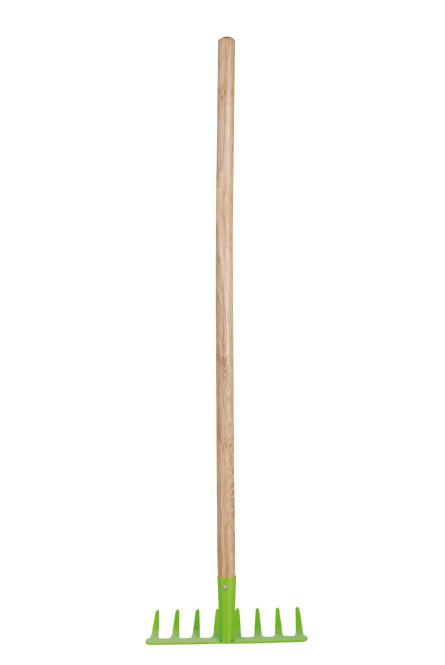 Esschert Design Kinderharke, Kinderrechen in grün mit Holzstiel, ca. 21 cm x 8,2 cm x 81 cm grün/braun