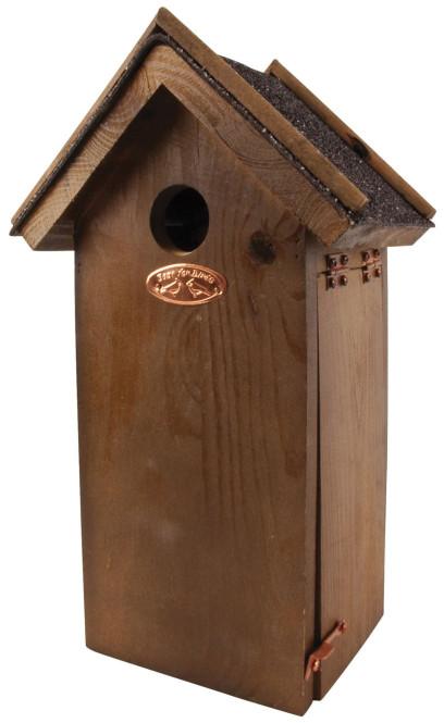 Esschert Design Nistkasten, Vogelhaus Kohlmeise in braun, Bitumen, ca. 18 cm x 14 cm x 32 cm Kohlmeise | Anzahl: 1 Stück