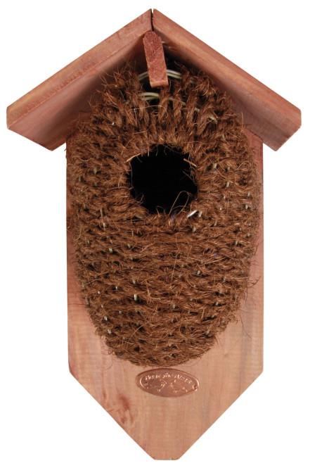 Esschert Design Nistkasten, Vogelhaus mit Höhle aus Kokos, ca. 15,2 cm x 10,2 cm x 26,2 cm Holz/Kokos | Anzahl: 1 Stück