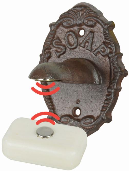 Esschert Design Nostalgischer Seifenhalter inkl. Seife, 8,1 x 7,7 x 10,8 cm, aus Gusseisen/Stahl/Magnet, Gartenzubehör, klassisches Design