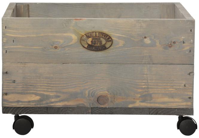 Esschert Design Pflanzkasten auf Rollen, 59 x 39 x 25 cm, aus Holz, mit 4 Kunststoffrollen, Holzkiste, Holzbox, Aufbewahrungsbox