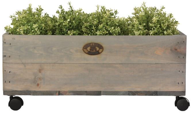 Esschert Design Pflanzkasten auf Rollen M, 59 x 39 x 25 cm, aus Holz, Größe M, mit 4 Kunststoffrollen, Holzkiste, Holzbox, Aufbewahrungsbox