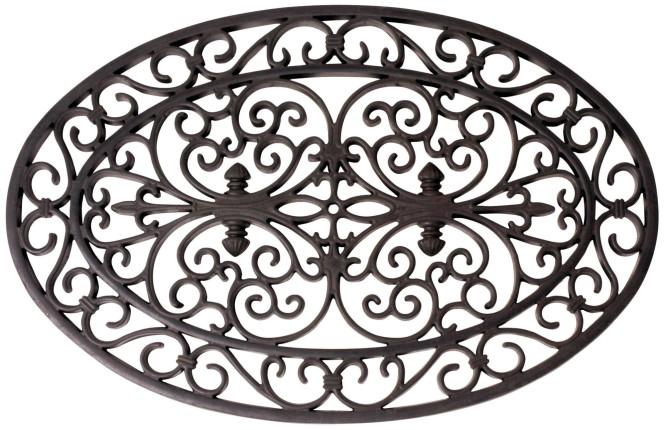Esschert Design Schmutzfangmatte, Fußmatte in schwarz aus Gummi, oval, ca. 70 cm x 44 cm