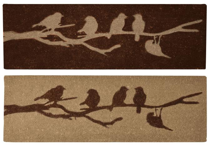 Esschert Design Schmutzfangmatte, Fußmatte mit Motiv Vögel auf Ast aus Kokos, breit, 1 Stück, sortiert, 120 cm x 40 cm