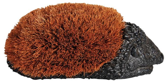 Esschert Design Schuhabstreifer, Fußabtreter Motiv Igel mit Bürste, Größe S, ca. 27 cm x 14 cm x 11 cm Anzahl: 1 Stück