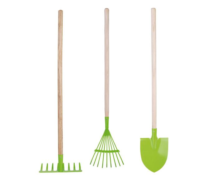 Esschert Design Set: Gartengeräte für Kinder, Kinderharke, Kinderrechen, Kinderspaten in grün