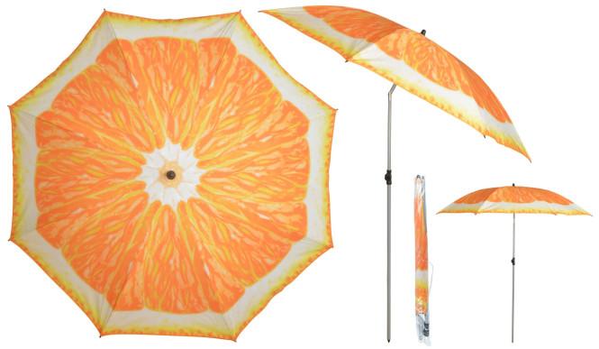 Esschert Design Sonnenschirm in Orange Motiv, Ø 184 x 226 cm, Stahlstiel/Kunststoffteile/Polyesterschirm