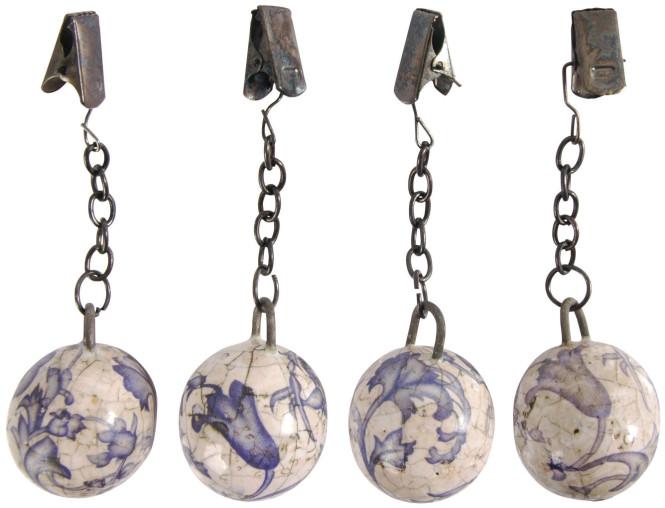 Esschert Design Tischtuchgewicht, Tischdeckenhalter aus Keramik in blau-weiß, Ø ca. 3,2 cm