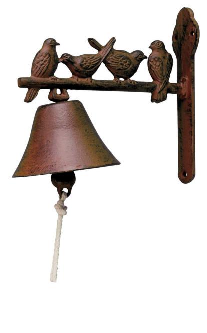 Esschert Design Türglocke mit Klöppel, Türklingel aus rötlichem Gusseisen, verschiedene Motive