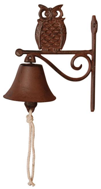 Esschert Design Türglocke mit Klöppel, Türklingel mit Motiv Eule aus rötlichem Gusseisen, ca. 11 cm x 19 cm x 22 cm
