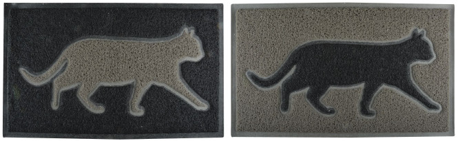 Esschert Design Türmatte mit Katzenmotiv, 74 x 44 x 1,7 cm, aus PVC, Fussabtreter, Schuhmatte, farbig sortiert
