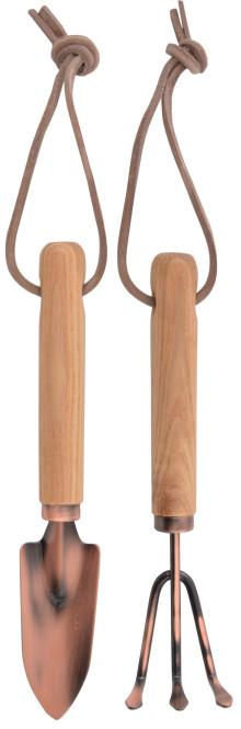 Esschert Design Verkupferte Minitools Schippe und Harke, mit Holzgriff und Hängeöse
