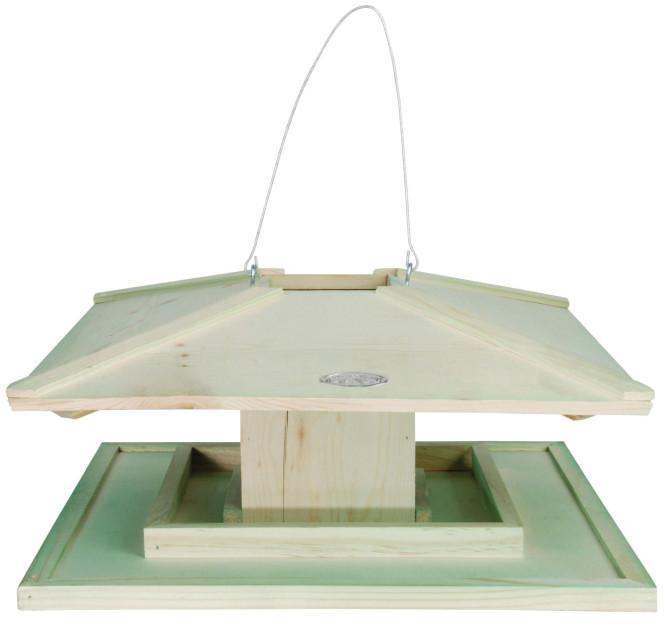 Esschert Design Vogelhaus, Vogelfutterhaus mit Dach aus Holz, komplett offen, im japanischen Stil, zum Aufhängen, ca. 39 cm x 39 cm x 21 cm