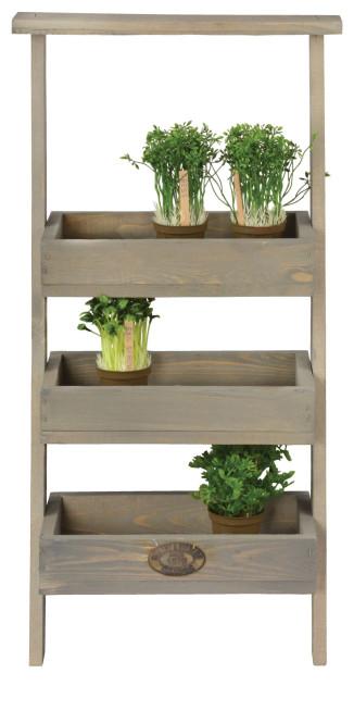 Esschert Design Wandetagere, 39 x 33 x 73 cm, aus Holz, 3 Etagen, Holzkisten, Holzbox, Pflanzbox