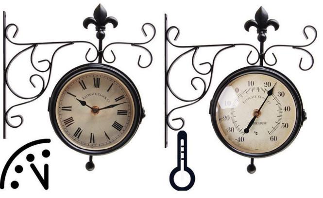 Esschert Design Wanduhr, Bahnhofsuhr mit Thermometer, Temperaturmesser, ca. 25 cm x 10 cm x 30 cm