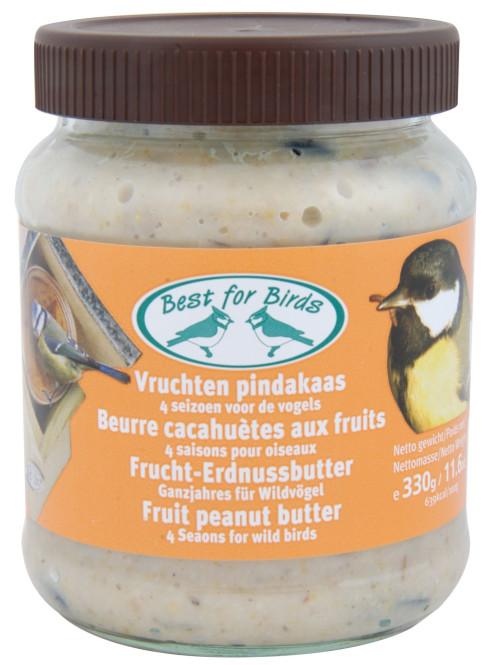 Esschert Frucht-Erdnussbutter, Voglfutter, für Wildvögel, Ganzjahresfutter, Erdnussbutter für Vogelfutterhaus, Inhalt: ca. 330 g