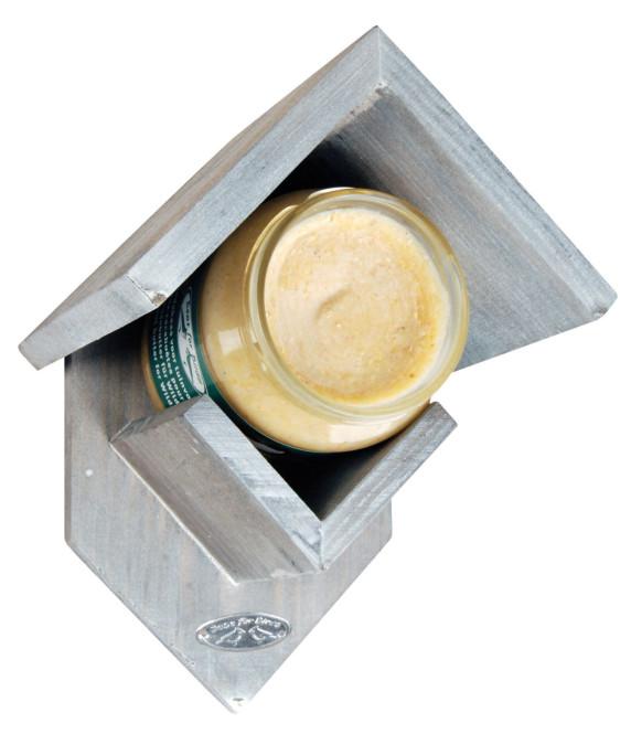 Esschert Vogelfutterhaus, Design: altes Holz, grau, für Erdnussbutterglas, Vogelhaus, Maße: ca. 19 x 14 x 13 cm, ohne Erdnussbutter