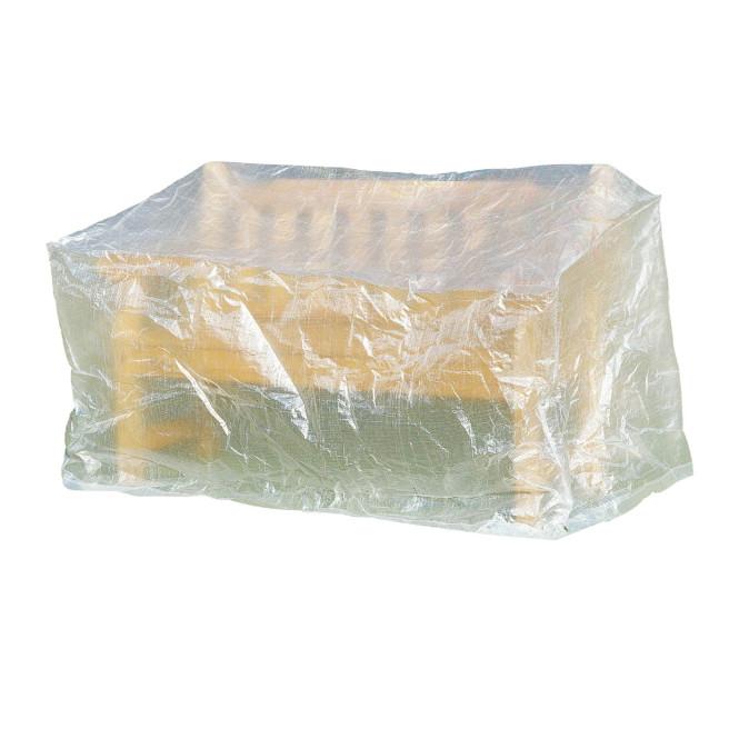 greemotion Schutzhülle für Gartenbank, Wetterschutzhülle, Gartenhülle, Abdeckung, 160 x 78 x 80 cm, mit PE-Bändchengewebe, transparent
