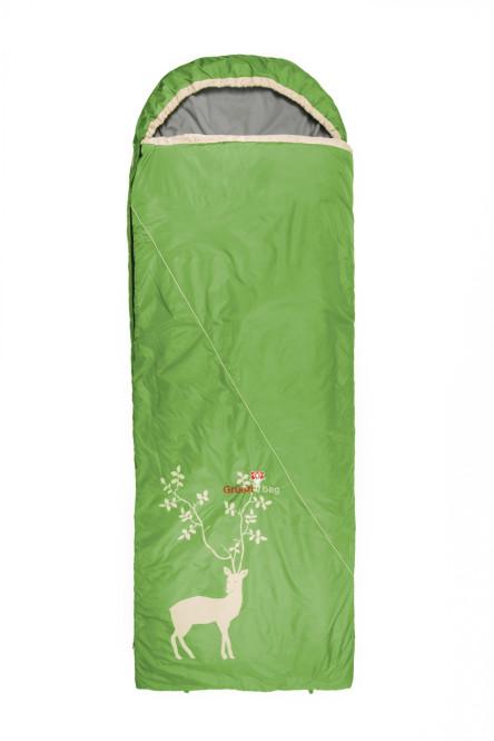 Grüezi bag Cloud Decke Reh IV Rechts Hütten Schlafsack, als Decke nutzbar, für Körpergröße 160 - 191 cm, Mikrofaser, 225x80 cm, 1180g, Ø 20x22 cm