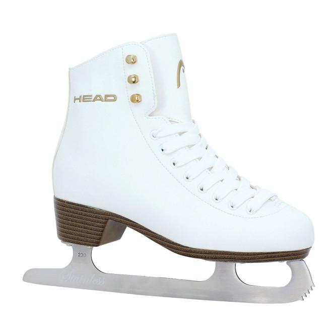HEAD Eiskunstlauf Schlittschuh Donna, Größen 28 - 42, Damen Schlittschuh, Leder weiß, Mädchen und Frauen, warm gefüttert
