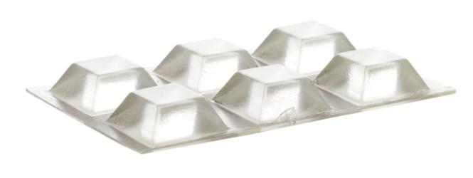 homeXpert 6 Stück Schutzpuffer CLEAR Quadrat, Anschlagpuffer, Möbelpuffer, Anschlagdämpfer, transparent, selbstklebend, 20,5 x 20,5 mm, Höhe: 7,5 mm