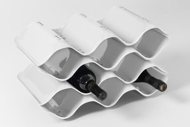 homiez Flaschen-/ Weinregal WAVE weiß 45 x 24 cm stapelbar, für 10 Flaschen, Weinflaschenständer weiß | Anzahl: 1 Stück