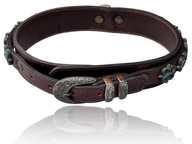 Hunde-Halsband der Serie Utica, aus Rinderleder, braun, 52 cm