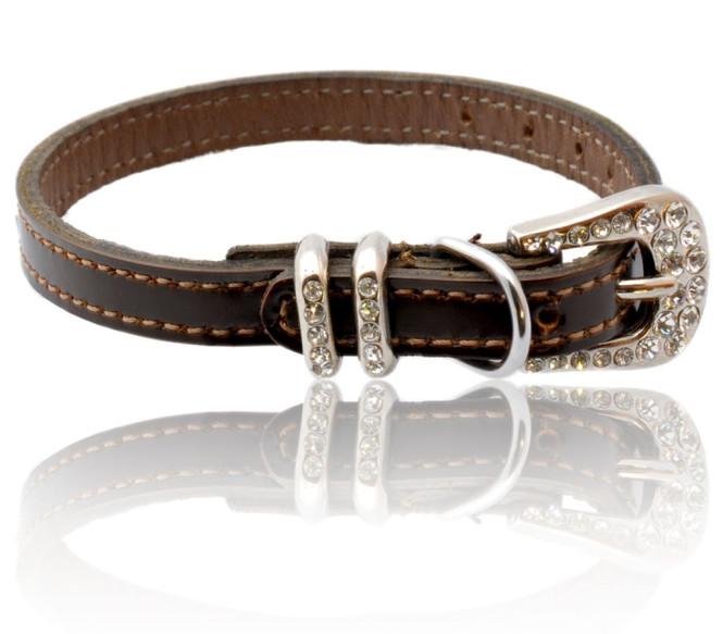 Hunde-Halsband Modell Madeleine aus Rindsleder, braun, 22 cm