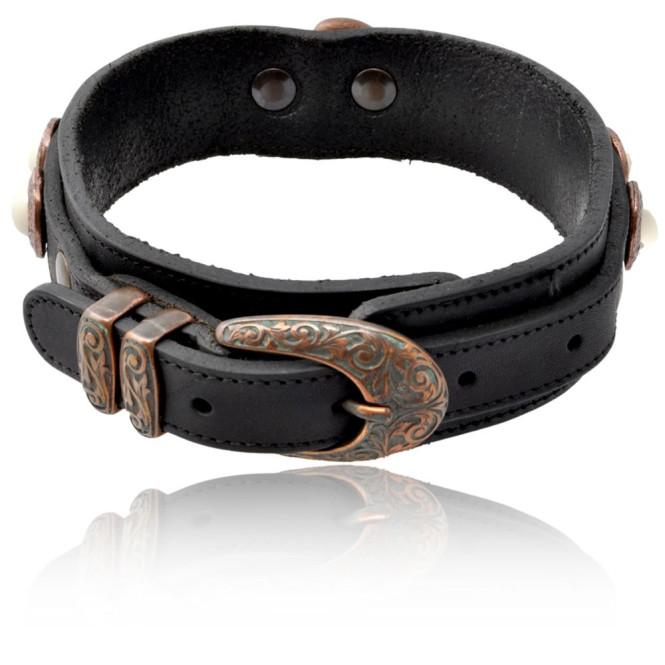 Hundehalsband Modell Molina, echtes Rind-Leder, schwarz, 42 cm