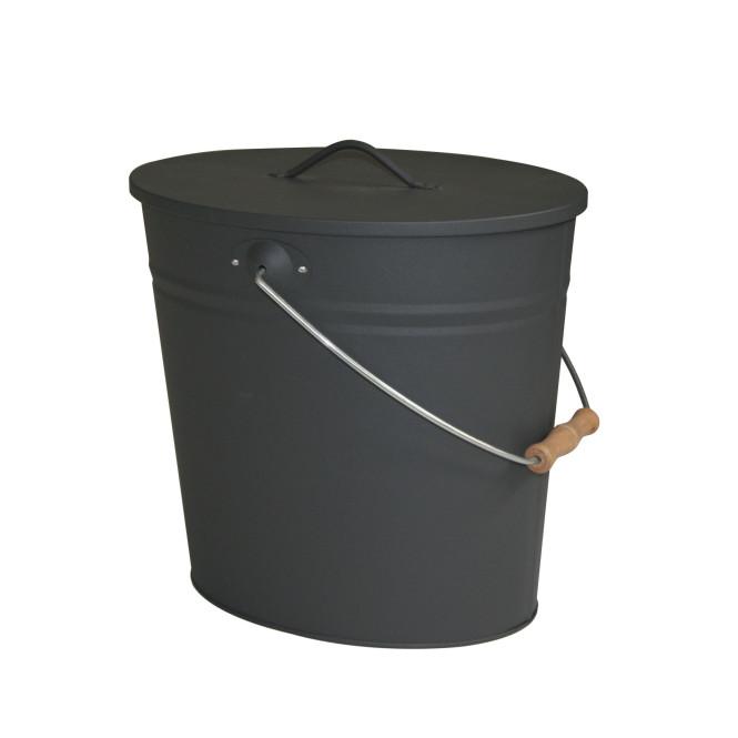 KaminoFlam® - Ascheneimer oval anthrazit 15 Liter 34/30/24 cm