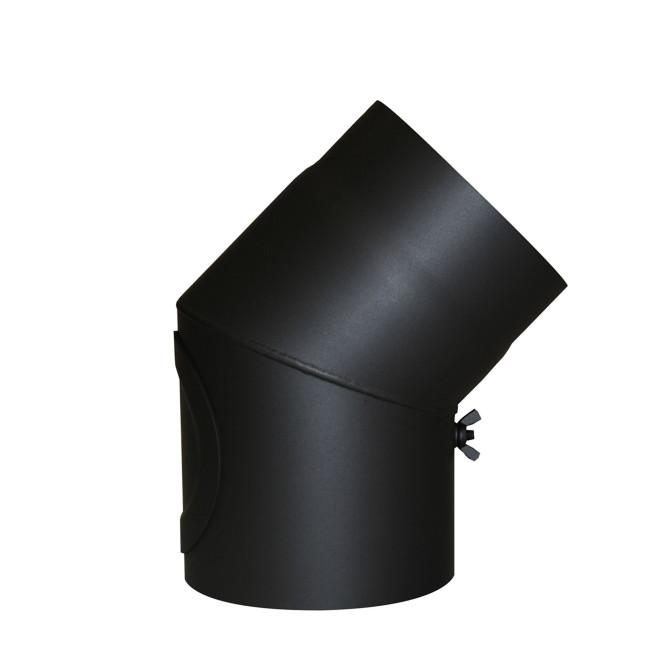 KaminoFlam® Bogen, Uni-Knie für Ofenrohre 45 Grad Senotherm schwarz 2 mm, mit Tür 120 mm