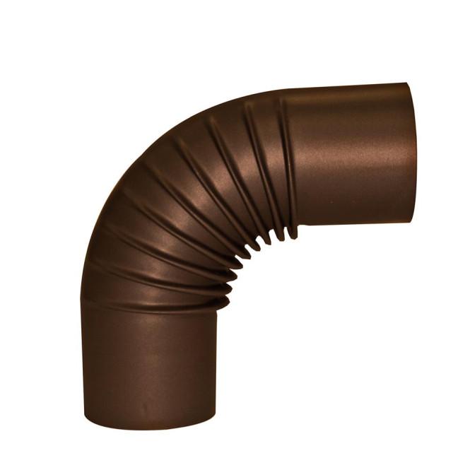 KaminoFlam® Bogenknie für Ofenrohre Emaille braun ohne Tür 120 mm