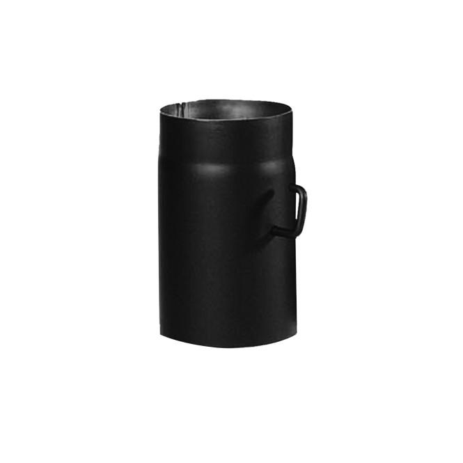 KaminoFlam® Ofenrohr mit Drosselklappe schwarz 2 mm, 120 x 250 mm