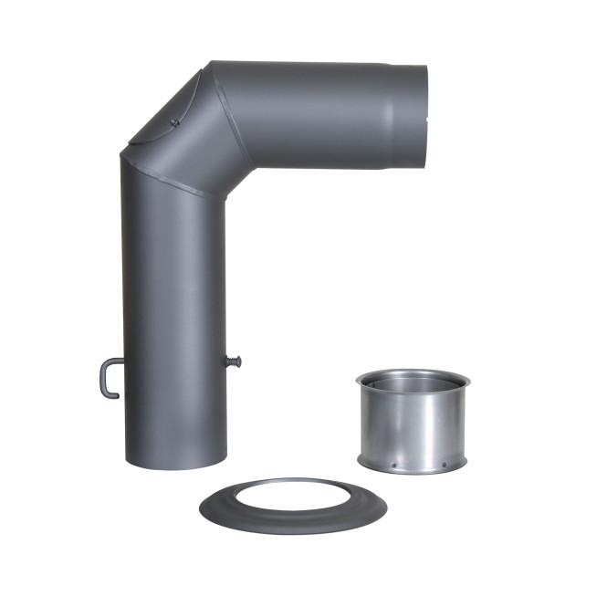 KaminoFlam® Winkelrohr-Set Senotherm 120 mm gussgrau