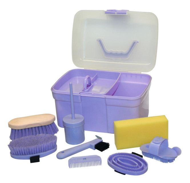 Kerbl Putzbox 8tlg. Set aus Kunststoff in lila lila