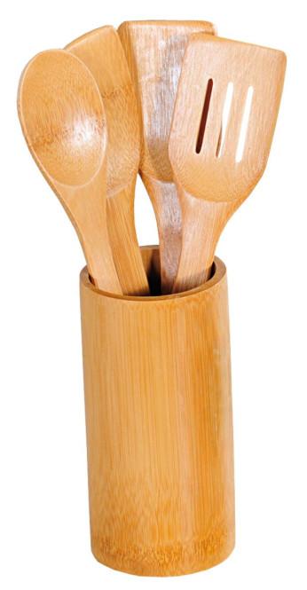 Kesper 5-tlg. Küchenhelfer-Set, je 30 cm Länge, 2x Kochlöffel (rund/spitz), 2x Bratenwender (mit/ohne Schlitze), Ständer Ø 8,5 x H 18 cm