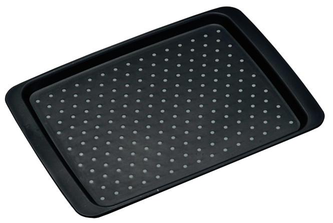 Kesper Anti-Rutsch Serviertablett aus Kunststoff, 35 x 26 x 2 cm, mit Anti-Rutsch-Noppen, rutschhemmende Unterseite, leicht erhöhter Rand, in schwarz