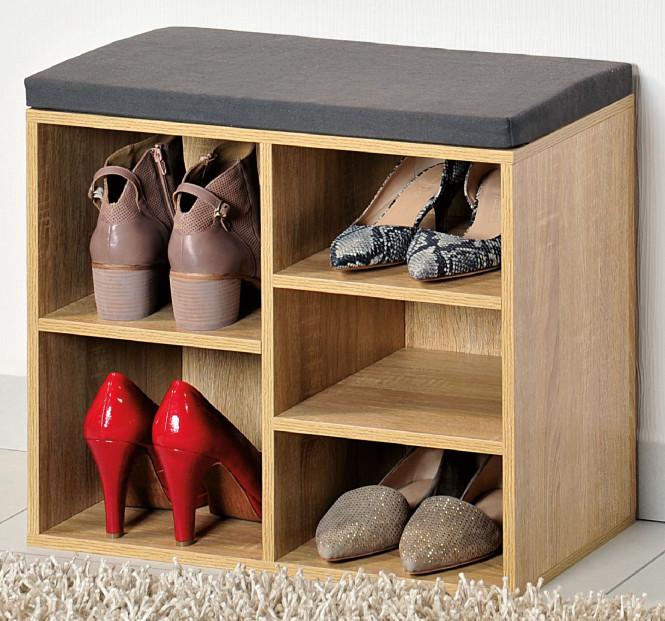Kesper Schuhschrank mit Sitzkissen, 51,5 x 48 x 29,5 cm, 1 variables Fach, für Stiefel, Schuhe, Sandalen, FSC-zertifizierte MDF mit Eichendekor