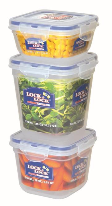 Lock & Lock 3er Set Frischhalteboxen, Vorratsboxen, Vorratsdosen in Shrinkfolie gepackt 1,59 Liter, Kunststoff transparent, 320, 540 und 730 ml