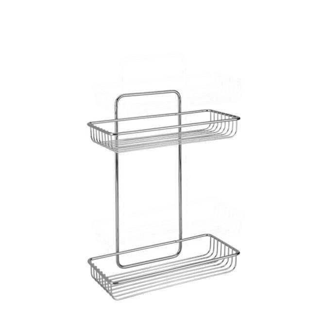 Metaltex Regal, Ablage Mallorca mit 2 Etagen, verchromt, ca. 26 cm x 12 cm x 32 cm