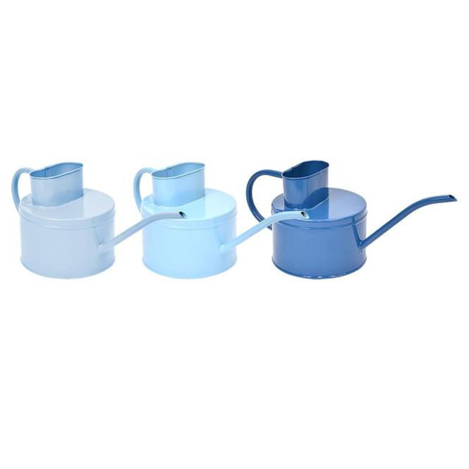 Rivanto® Blautöne Gewächshaus Gießkanne aus Zink, 1250 ml, farbig sortiert, für Zimmerpflanzen