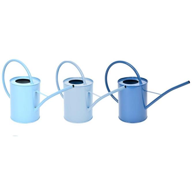 Rivanto® Blautöne Indoor Gießkanne aus Metall, 1600 ml, mit großem Rundgriff, farbig sortiert, Garten Gießkanne klein für Zimmerpflanzen