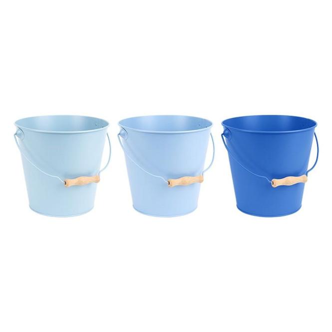 Rivanto® Blautöne Zink Eimer mit Holzgriff, Ø 20 cm, 4800ml, farbig sortiert, Wasser Eimer für Gartenarbeit, Kompost Eimer