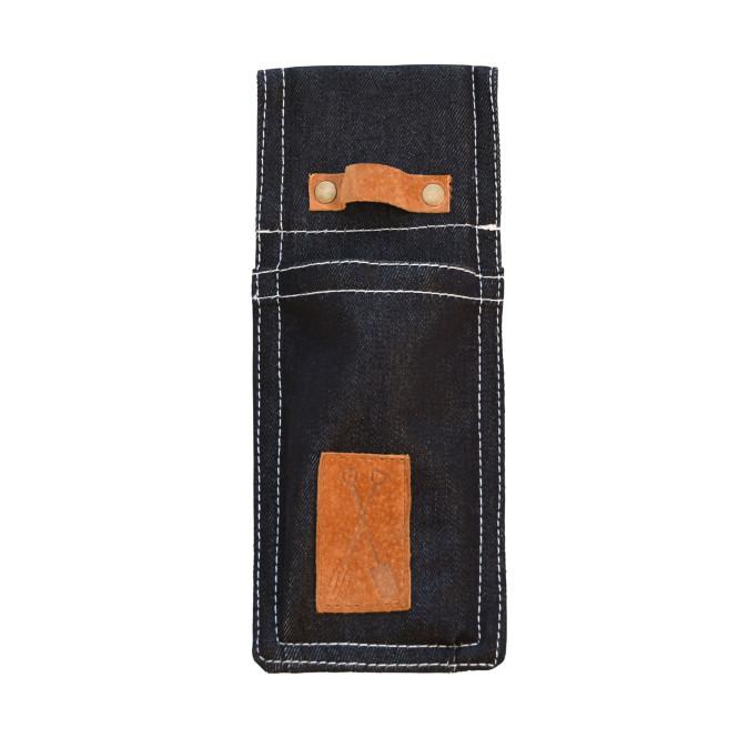 Rivanto® Denim Gartengerätescheide aus Denim (80% Baumwolle/20% Polyester)/Schweineleder, 9,8 x 1,8 x 24,2 cm,